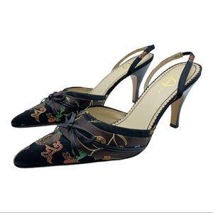 JOEY Brown/Black Kimono Patterned Sling-Back Heels